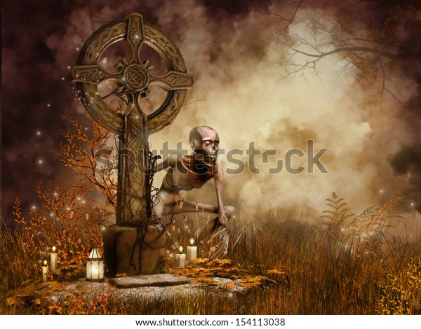 Gothic tombstone with candles and a zombie monster