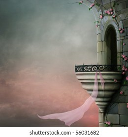 Gothic tower, beautiful roses and pink scarf