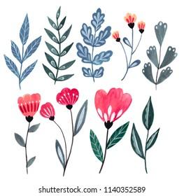 Gouache hand-drawn flowers