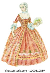 gouache painting costumes of the 18th century