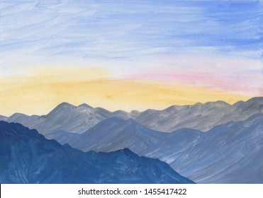 Gouache painting - landscape with blue mountains at sunrise. Vibrant blue sky and mountain peaks illustration. Calm serene background for meditation, relaxation. Hand drawn nature background.
