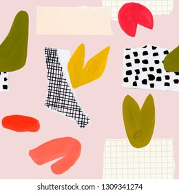 Gouache and paper collage seamless patterns. Trandy abstract collage. Cut out paper elements, sketches, doodles, lines, dots, flowers, leaves, shapes. Hand drawn illustration for packaging, cover etc