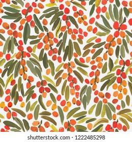 Gouache sea buckthorn berries seamless pattern, hand painted on a white background. Bright endless design for wrap paper, wallpaper or fabric.