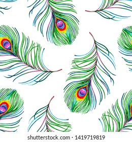 Gouache seamless exotic pattern with colorful peacock feathers