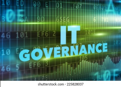 IT Governance concept with blue text and green background