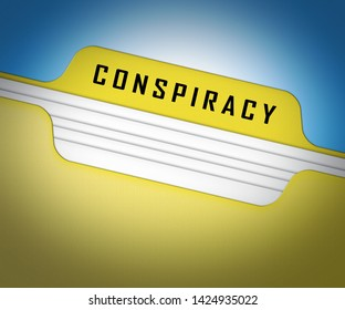 Government Conspiracy Folder Meaning Usa Leadership Conspiring With Foreign Leaders 3d Illustration. Dishonest Politicians Scheming And Misleading