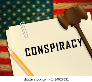 Government Conspiracy Report Meaning Usa Leadership Conspiring With Foreign Leaders 3d Illustration. Dishonest Politicians Scheming And Misleading