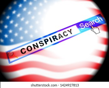 Government Conspiracy Search Meaning Usa Leadership Conspiring With Foreign Leaders 3d Illustration. Dishonest Politicians Scheming And Misleading