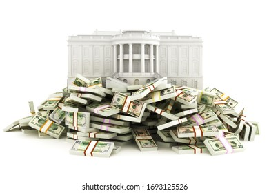 Government relief concept. White house sitting on top of a huge pile of money to be distributed to the population due to the corona virus .Illustration isolated on a white background. 3d rendering