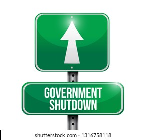 government shutdown sign icon illustration isolated over a white background