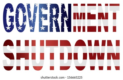Government Shutdown Text Outline with American USA Flag Silhouette Raster Illustration