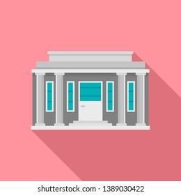 Governmental courthouse icon. Flat illustration of governmental courthouse icon for web design