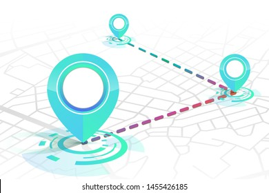 Gps icon mock up gradient blue color 3 point with dashed lines showing on the street white background.vector illustration