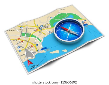 GPS navigation, tourism and travel route planning concept: color city map and blue magnetic compass icon isolated on white background