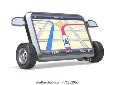 GPS Navigator with abstract map