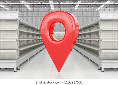 GPS pin location navigation geo tag in store interior  with supermarket shelves. 3d render