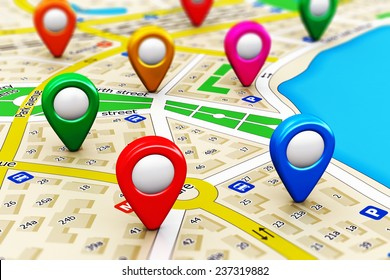 GPS satellite navigation, travel, tourism and location route planning business concept: macro view of color city map with group of colorful destination pointer marker icons with selective focus effect