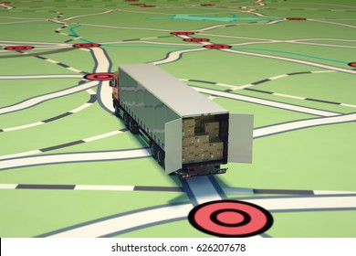 GPS tracking and shipment. 3D Rendering