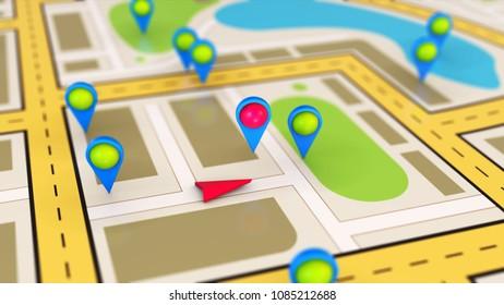 GPS travel and navigation map of city 3D illustration