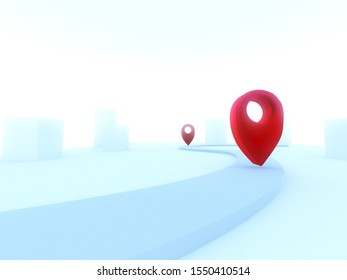 GPS.navigator pin checking red color on the way with white background. , 3D illustration