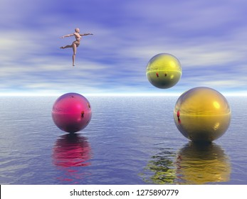 Graceful ballerina dances in the sky. Colorful mystic spheres hovers above endless ocean water surface. 3D rendering