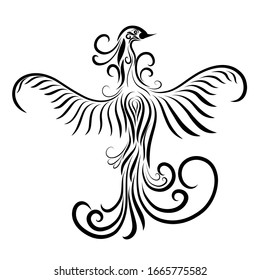graceful bird, pattern with flowing black lines