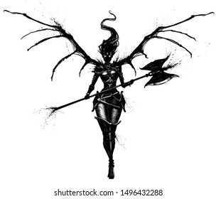 Graceful demon woman with axe and clawed wings, gracefully steps forward . 2D Illustrations.