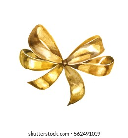 Graceful golden bow isolated on white background. Watercolor