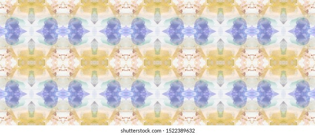 Graceful Ranks Effect. Indigo, Grassy and Pale. Smudges Geometry. Seamless Free Hand. Aqua and Green. Colorful Pineapple Rind. Vintage Endless Ornament. Delicate Motif.