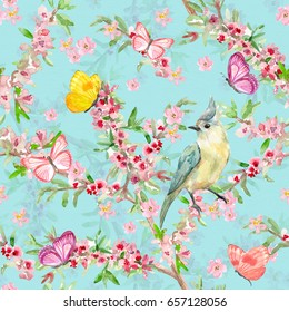 graceful seamless texture with pretty bird on flowering branch. watercolor painting