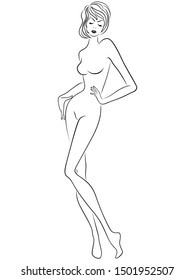 Graceful woman with slim figure isolated on the white background, hand drawing outline
