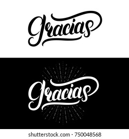 Gracias hand written lettering. Modern brush calligraphy. Thank you in spanish. Isolated on background.