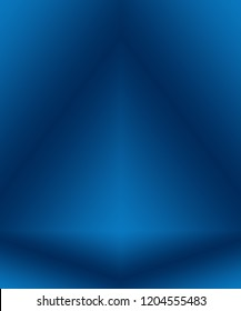 Gradient Blue abstract background. Smooth Dark blue with Black vignette Studio