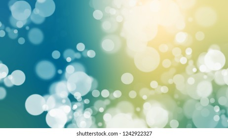 Gradient with bokeh effect, sparkle and Willow Brook, Green, Astral, Blue color. Classic defocused background with smooth color transition for mobile app.