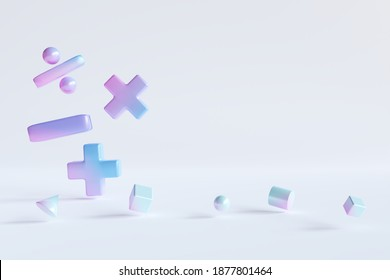 Gradient color basic math operation symbols and Geometry shape on white background. 3d render illustration. Mathematic education background concept.