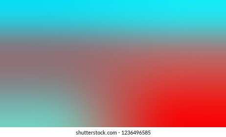 Gradient with Coral Tree, Red, Medium Turquoise, Blue color. Beautiful simple defocused and blurred background with the transition colors for advertising.