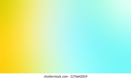 Gradient with Pale Turquoise, Blue, Gorse, Yellow color. Classic and contemporary blurred background with smooth change of colors and shades. Template and wallpaper to the screen of a mobile.