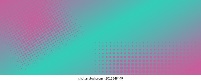 Gradient pattern, dots texture background. Abstract cyan and pink. Polka dots backdrop. Flat dotted spotted pattern. Modern dotted template illustration for design, covers, web banners