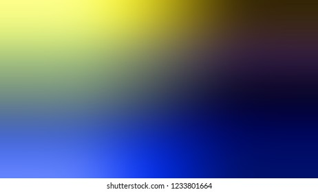 Gradient with Port Gore, Blue, Goldenrod, Yellow color. Raster and appealing blurred background with smooth color transition. Template with changing shades and with place for text.