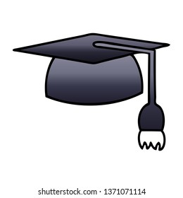 gradient shaded cartoon of a graduation hat
