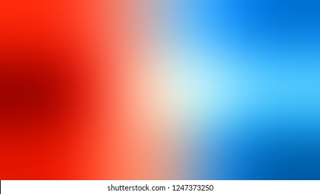 Gradient with Summer Sky, Blue, Fire Engine Red color. Classic and contemporary blurred background with smooth color degradation. Template and wallpaper on the desktop PC or laptop.