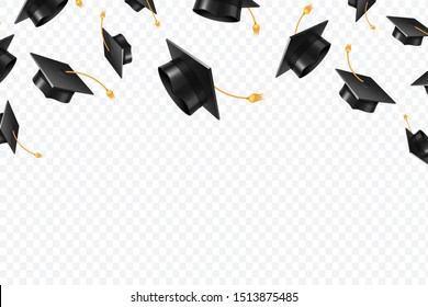 Graduate caps flying. Black academic hats in air. Education isolated concept