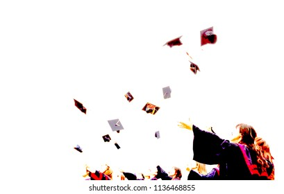 Graduate Students throwing mortarboards in the air in university graduation success ceremony. Congratulation on Education Success, Graduation Ceremony university graduates, Commencement Day Concept