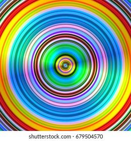 Graduated vibrant colours blur stripes circles abstract background.