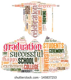 Graduating info-text graphic and arrangement concept on white background (word cloud)