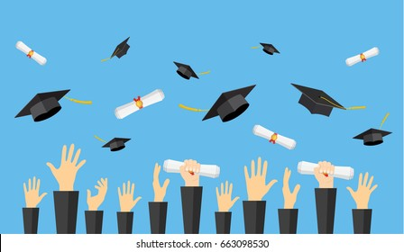 Graduating students of pupil hands in gown throwing graduation caps and diploma scroll in the air, illustration in flat style Raster version