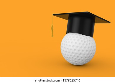 Graduation Academic Cap over White Golf Ball on a yellow background. 3d Rendering