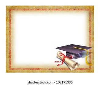 Graduation blank diploma with a mortarboard or graduation cap and a decorative frame for the successful completion of a class or educational program.