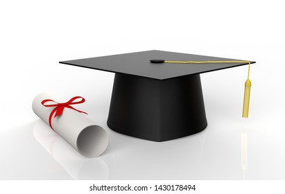 Graduation Cap with Degree Isolated on White Background. 3d illustration