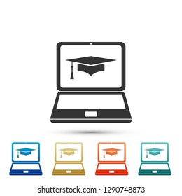 Graduation cap and laptop icon. Online learning or e-learning concept icon isolated on white background. Set elements in colored icons. Flat design.